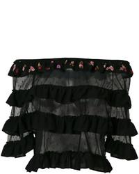 Top con hombros descubiertos negro de RED Valentino