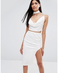 Top corto blanco de Missguided