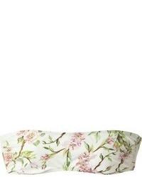 Top corto con print de flores blanco