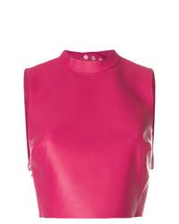 Top corto de cuero rosa de Manokhi