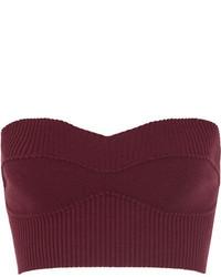 Top corto de lana morado oscuro de Victoria Beckham