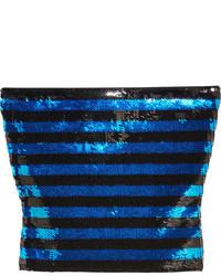 Top corto de lentejuelas azul de Saint Laurent