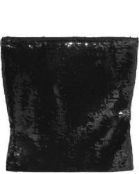Top corto de lentejuelas negro de Saint Laurent