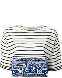Top corto de rayas horizontales en blanco y negro de Emilio Pucci