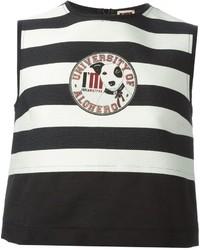 Top corto de rayas horizontales en blanco y negro de Isola