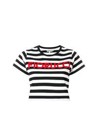 Top corto de rayas horizontales negro de Fiorucci