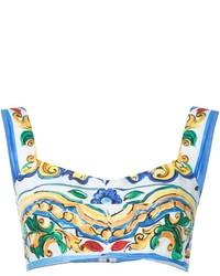 Top corto estampado blanco de Dolce & Gabbana