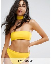 Top de bikini amarillo de Missguided