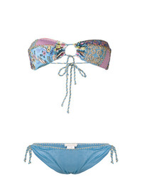 Top de bikini bordado celeste de Anjuna