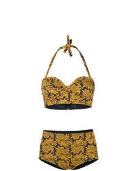Top de bikini con print de flores amarillo de Maison Margiela