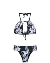 Top de bikini con print de flores azul marino de Amir Slama