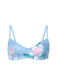 Top de bikini con print de flores celeste de Cynthia Rowley