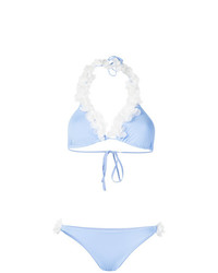 Top de bikini con print de flores celeste de La Reveche