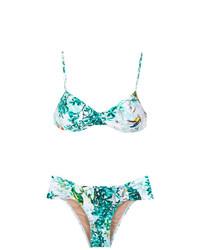 Top de bikini con print de flores celeste de Lygia & Nanny