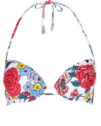 Top de bikini con print de flores en multicolor