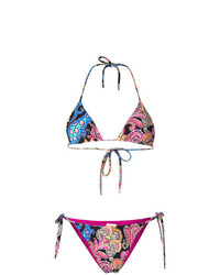 Top de bikini con print de flores negro de Etro