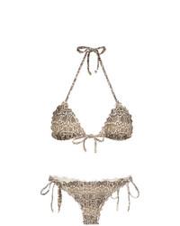 Top de bikini con print de serpiente marrón claro de Amir Slama