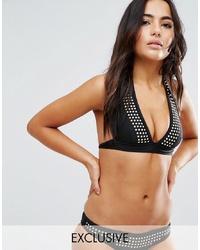 Top de bikini con tachuelas negro de Wolf & Whistle