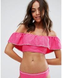 Top de bikini con volante rosa de Vero Moda