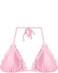 Top de bikini con volante rosado
