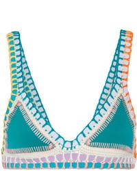 Top de bikini de crochet en verde azulado de Kiini