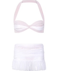 Top de bikini de malla blanco de Norma Kamali