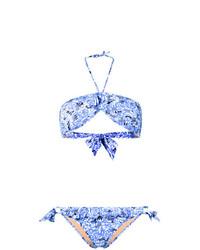 Top de bikini estampado celeste de Emmanuela Swimwear