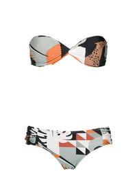 Top de bikini estampado en multicolor de Adriana Degreas