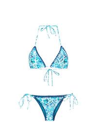 Top de bikini estampado en turquesa de BRIGITTE