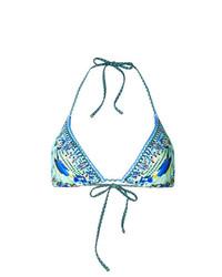 Top de bikini estampado en turquesa de Camilla