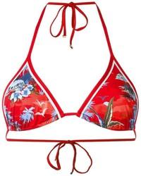 Top de bikini estampado rojo de Dsquared2