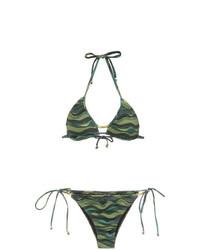 Top de bikini estampado verde oliva de Amir Slama