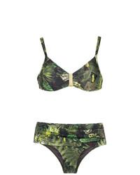Top de bikini estampado verde oliva de Lygia & Nanny