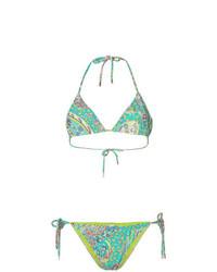 Top de bikini estampado verde de Etro