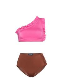 Top de bikini rosa de Leslie Amon
