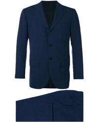 Traje de lana a cuadros azul marino de Kiton