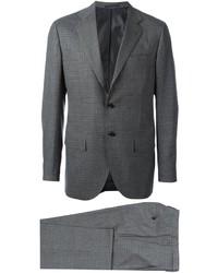 Traje de lana a cuadros en gris oscuro de Kiton