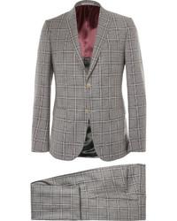 Traje de lana a cuadros gris de Gucci