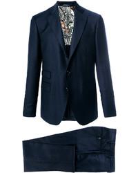 Traje de lana azul marino de Etro