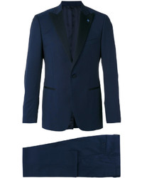 Traje de lana azul marino de Lardini