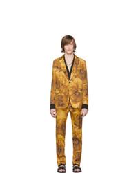 Traje de lana con print de flores amarillo de Dries Van Noten