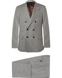 Traje de lana de pata de gallo gris de Brunello Cucinelli