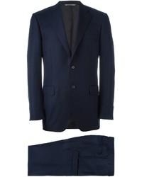 Traje de lana de rayas verticales azul marino de Canali