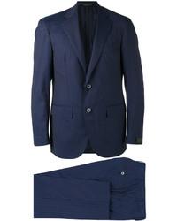 Traje de lana de rayas verticales azul marino de Corneliani