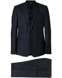 Traje de lana de rayas verticales azul marino de Dolce & Gabbana