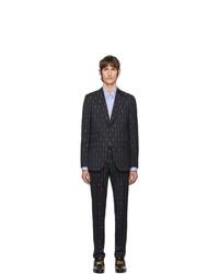 Traje de lana de rayas verticales azul marino de Gucci