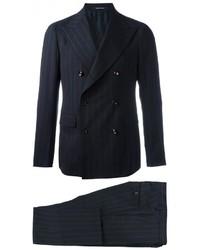 Traje de lana de rayas verticales azul marino de Tagliatore