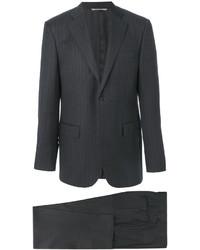 Traje de lana de rayas verticales en gris oscuro