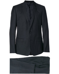 Traje de lana de rayas verticales en gris oscuro de Dolce & Gabbana
