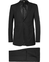 Traje de lana de rayas verticales negro de Burberry
